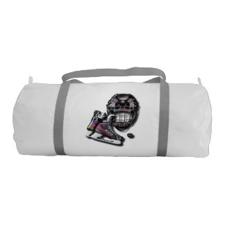 Ice Hockey Skates Helmet Puck With Name And Number Duffle Bag