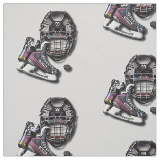 Ice Hockey Skates Helmet Puck With Name And Number Fabric