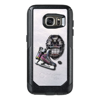 Ice Hockey Skates Helmet Puck With Name And Number OtterBox Samsung Galaxy S7 Case
