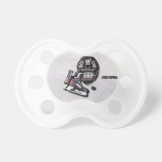 Ice Hockey Skates Helmet Puck With Name And Number Pacifier