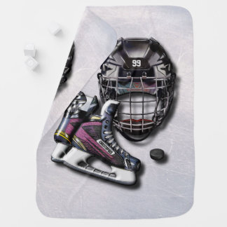 Ice Hockey Skates Helmet Puck With Name And Number Swaddle Blanket