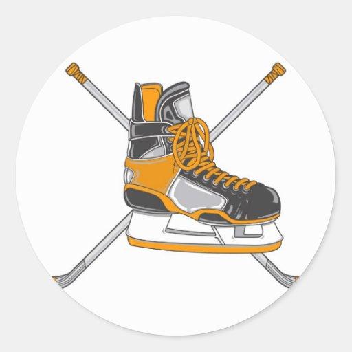 Ice Hockey Skates Round Stickers
