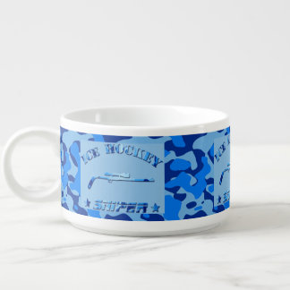 Ice Hockey Sniper Blue Camo Chili and Soup Cup