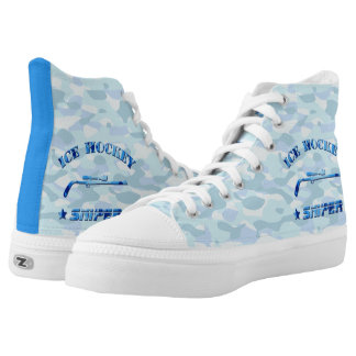 Ice Hockey Sniper Blue Camo High Tops Sneakers