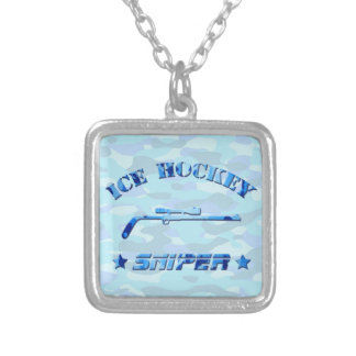 Ice Hockey Sniper (blue) Square Necklace