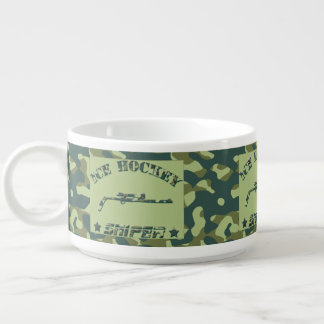 Ice Hockey Sniper Green Camo Chili and Soup Cup