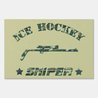 Ice Hockey Sniper (green camo) Yard Sign