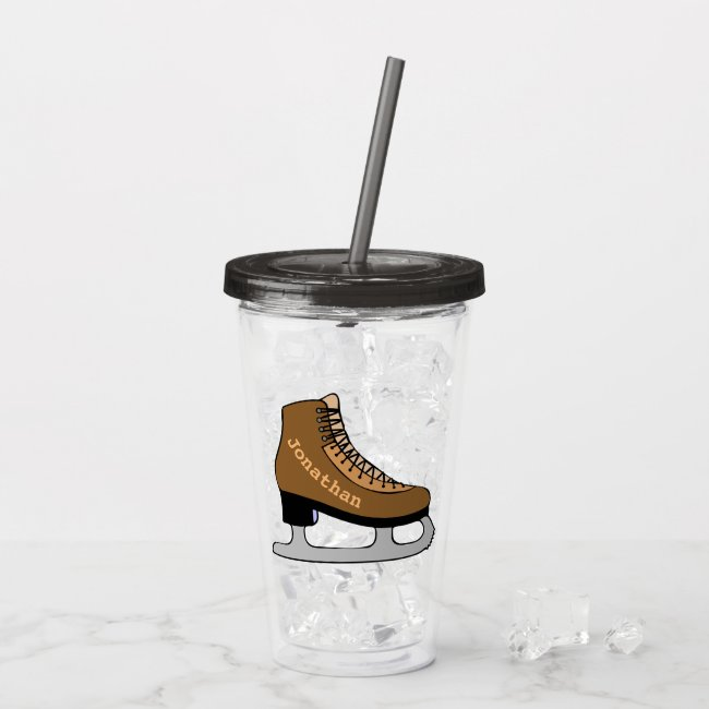 Ice Hockey Sports Skates Acrylic Tumbler