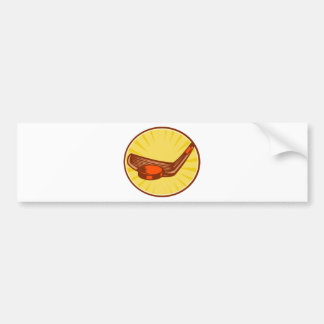Ice Hockey Stick and Puck Retro Style Bumper Stickers