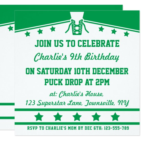 Ice Hockey Themed Jersey Party Invites Template