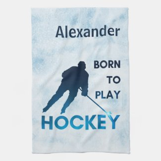 Ice hockey towel dry blade born to play blue ice