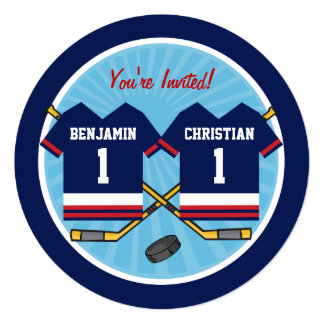 Ice Hockey Twins Jersey 1st Birthday Party 5.25x5.25 Square Paper Invitation Card