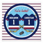 Ice Hockey Twins Jersey V2 1st Birthday Party 5.25x5.25 Square Paper Invitation Card