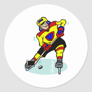 Ice Hockey Yellow Red Blue Classic Round Sticker
