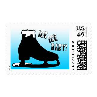 ice ice baby : ice skating party invitation stamp
