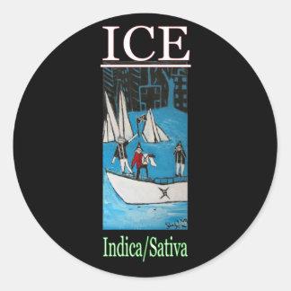 ICE INDICA SATIVA CLASSIC ROUND STICKER