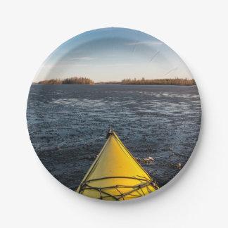 Ice kayaking paper plate