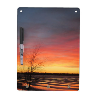 Ice Lake Sunset Dry Erase Board w/ Keyholders