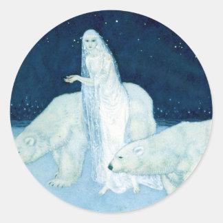 Ice Maiden with White Bears Sm Sticker
