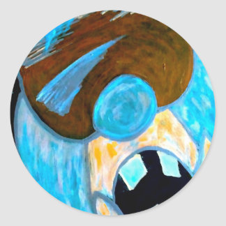 Ice man character classic round sticker