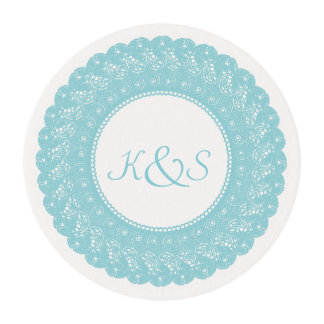 Ice/mint blue and white lace frosting sheets