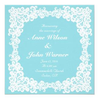 Ice/mint blue elegant square lace invitation