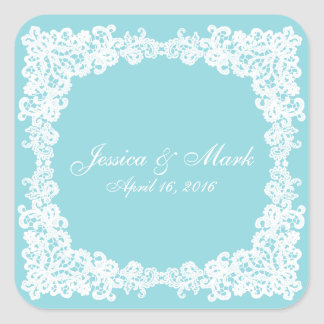 Ice/mint blue lace square sticker