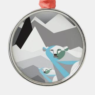 Ice-Mountains.jpg Round Metal Christmas Ornament