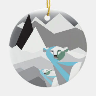 Ice-Mountains.jpg Double-Sided Ceramic Round Christmas Ornament