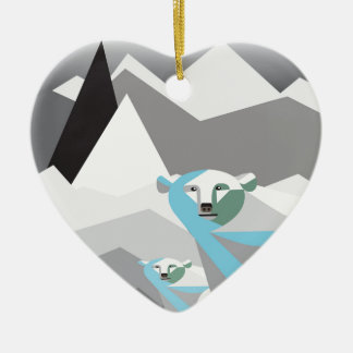 Ice-Mountains.jpg Double-Sided Heart Ceramic Christmas Ornament