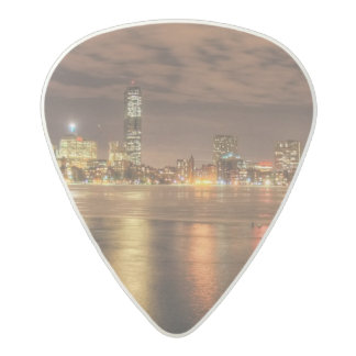 Ice partially melted on Charles River in Boston Acetal Guitar Pick