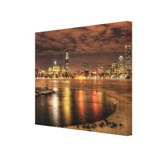 Ice partially melted on Charles River in Boston Canvas Print