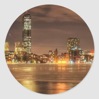 Ice partially melted on Charles River in Boston Classic Round Sticker