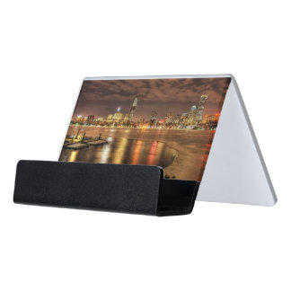 Ice partially melted on Charles River in Boston Desk Business Card Holder