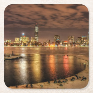 Ice partially melted on Charles River in Boston Square Paper Coaster