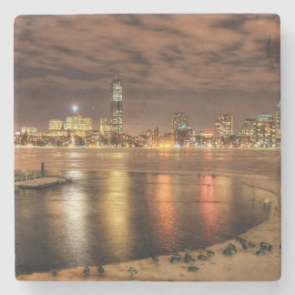 Ice partially melted on Charles River in Boston Stone Coaster