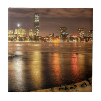 Ice partially melted on Charles River in Boston Tile