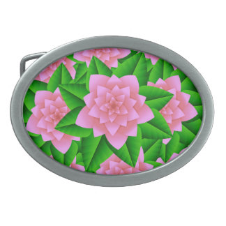 Ice Pink Camellias and Green Leaves Belt Buckle