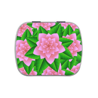 Ice Pink Camellias and Green Leaves Jelly Belly Tins