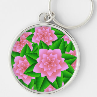 Ice Pink Camellias and Green Leaves Keychain