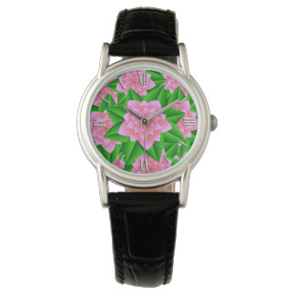 Ice Pink Camellias and Green Leaves Wrist Watch