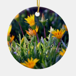 Ice Plant Double-Sided Ceramic Round Christmas Ornament