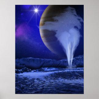 Ice Plume Jupiter Moon Europa Concept Art Poster