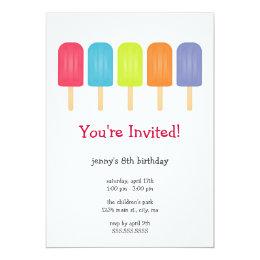 Ice Pops Birthday Party Invitations