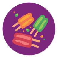 Ice Pops Round Stickers