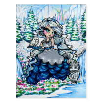 Ice Princess Winter Snow Queen Girl Fantasy Art Postcard