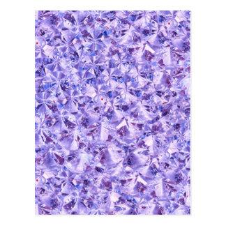 Ice Purple Diamond Crystals Decor Postcard