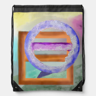 Ice Ring Abstract Design Drawstring Backpack