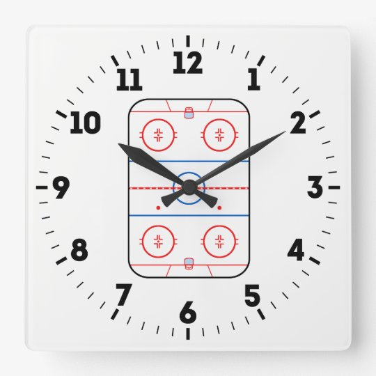 Ice Rink Diagram Hockey Game Decor On A Square Wall Clock Zazzle