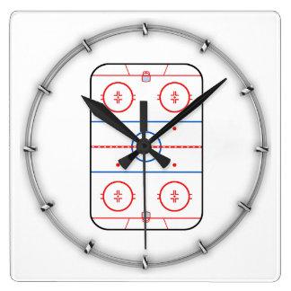 Ice Rink Diagram Hockey Game Decor Square Wall Clock